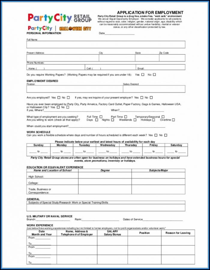 Free Printable Job Application Form Template Uk