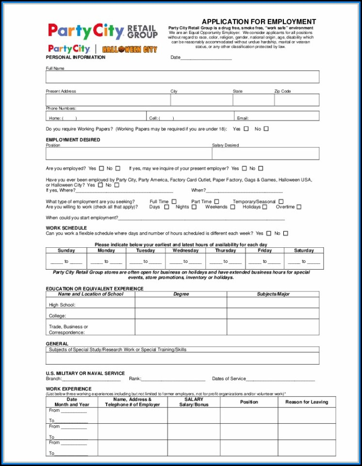 Free Printable Job Application Form Template Uk