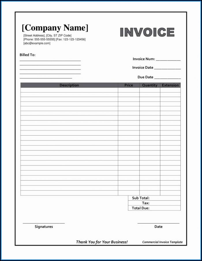 Free Printable Job Invoice Forms