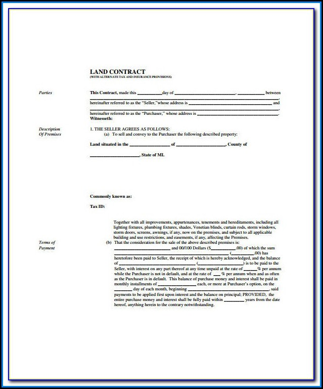 Free Printable Land Contract Forms Ohio