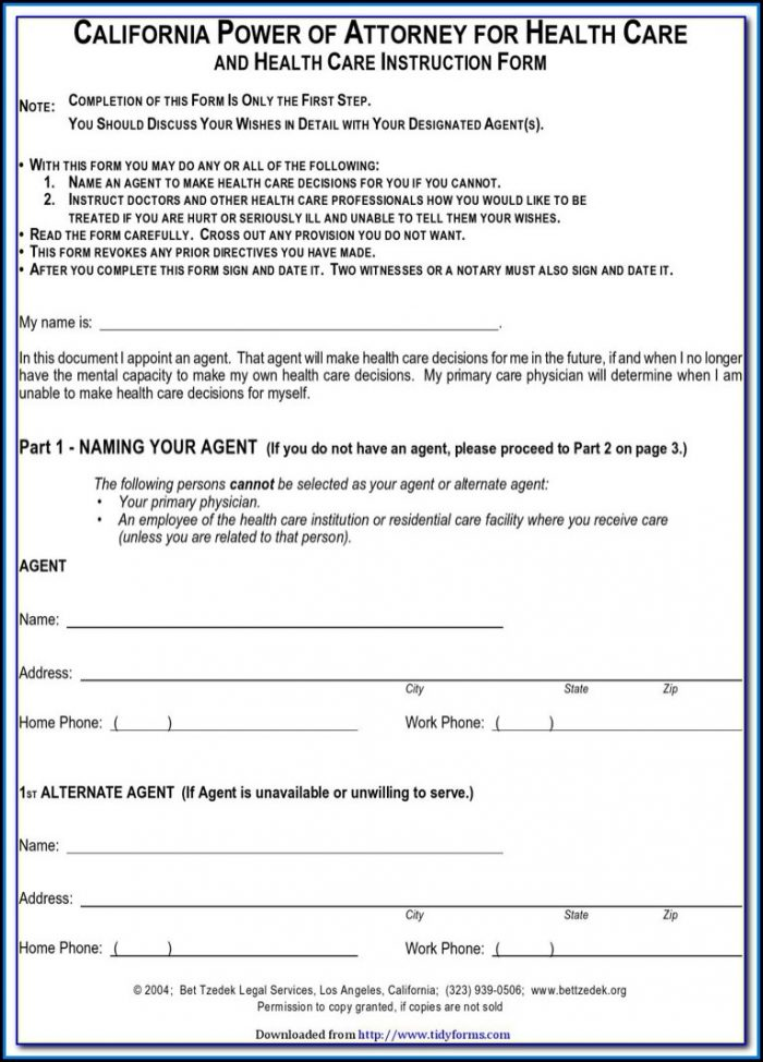 Free Printable Medical Power Of Attorney Forms Online