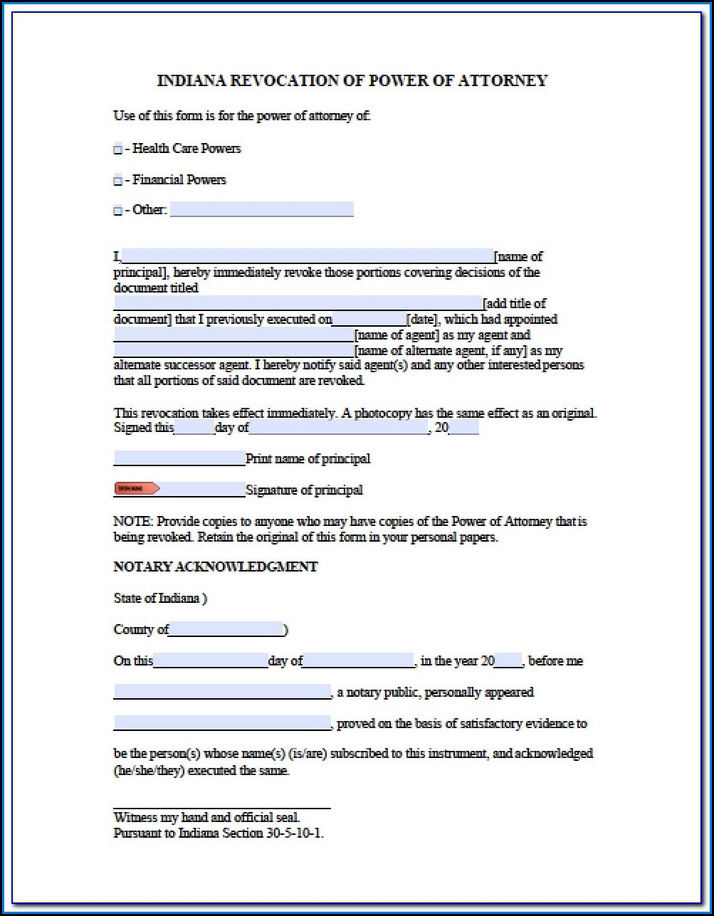Free Printable Power Of Attorney Form Indiana