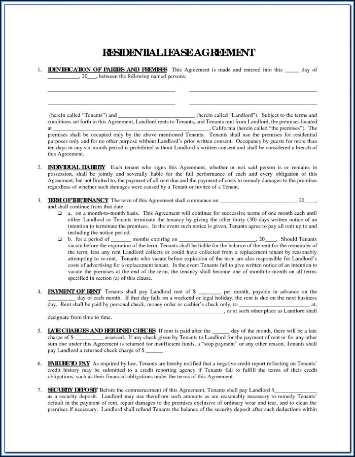 Free Printable Rental Agreement Form Word