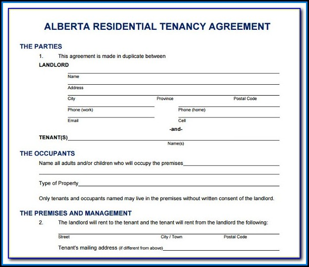 Free Printable Rental Agreement Forms Alberta
