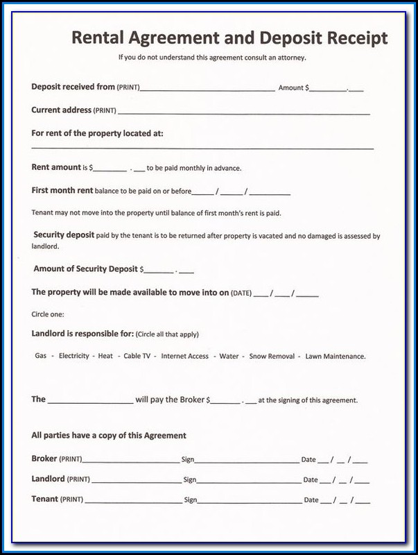 Free Printable Renters Agreement Form