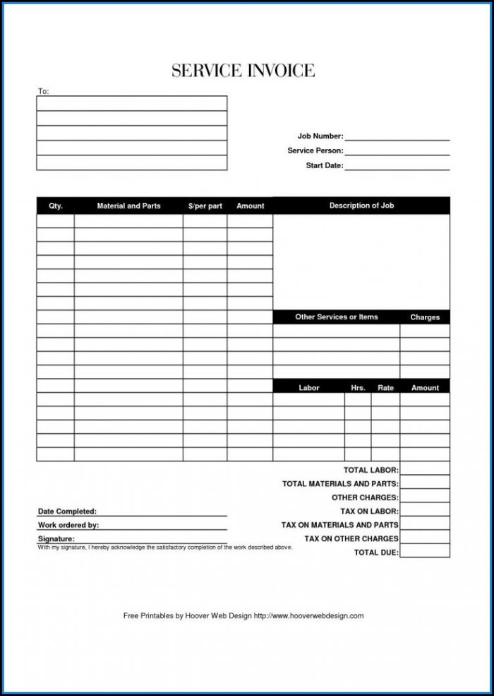 Free Printable Service Invoice Forms
