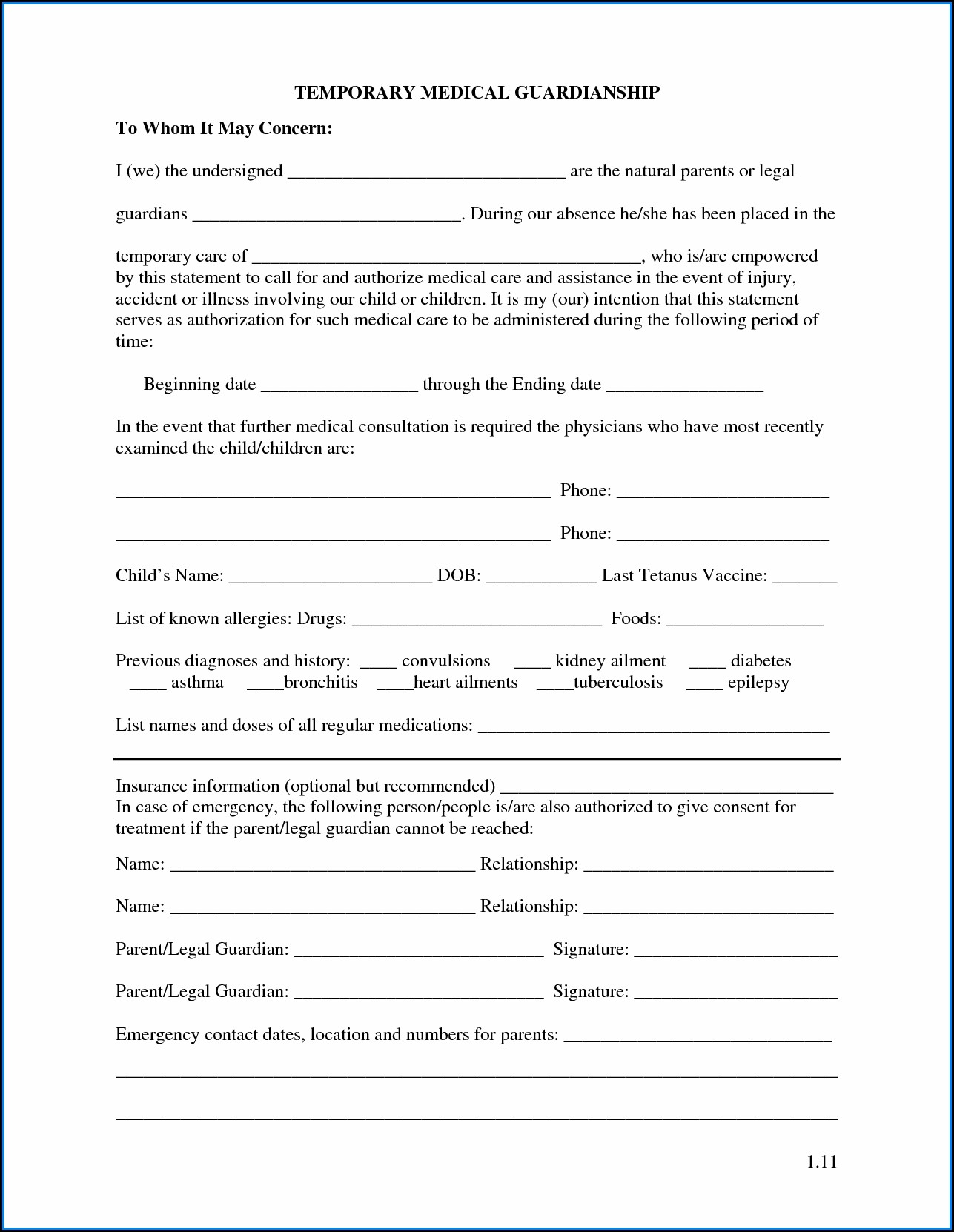 Free Printable Temporary Child Custody Forms Form