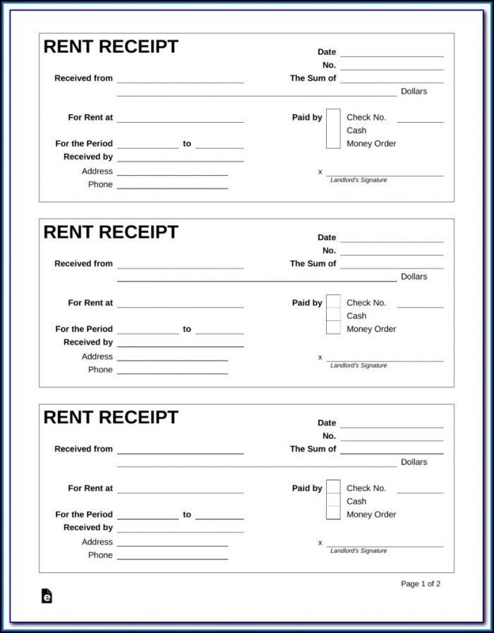 Free Rent Receipt Form