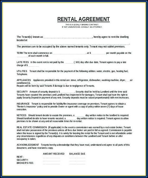 Free Sample Rental Agreement Forms To Print