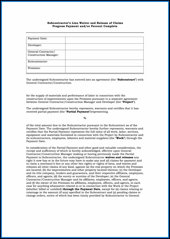Free Subcontractor Lien Waiver Form Pdf