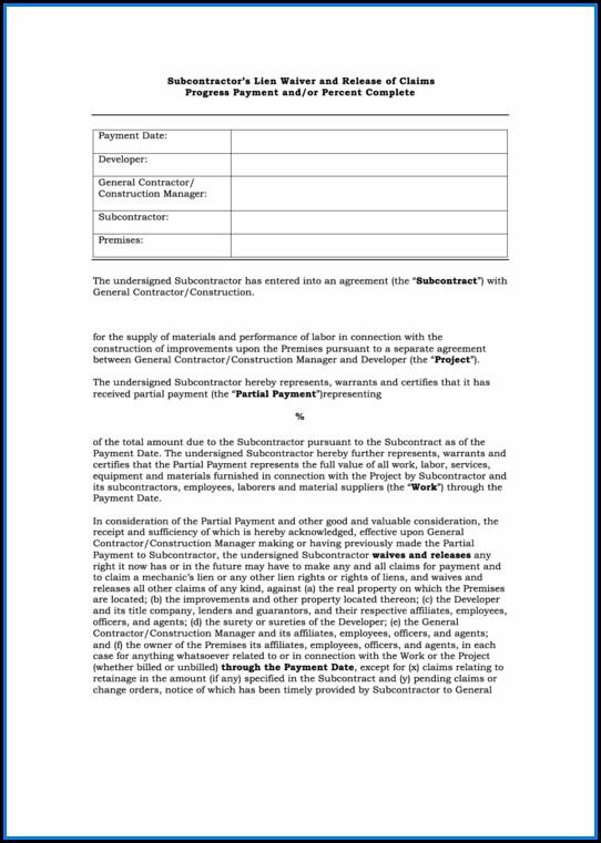 Free Subcontractor Lien Waiver Form Pdf