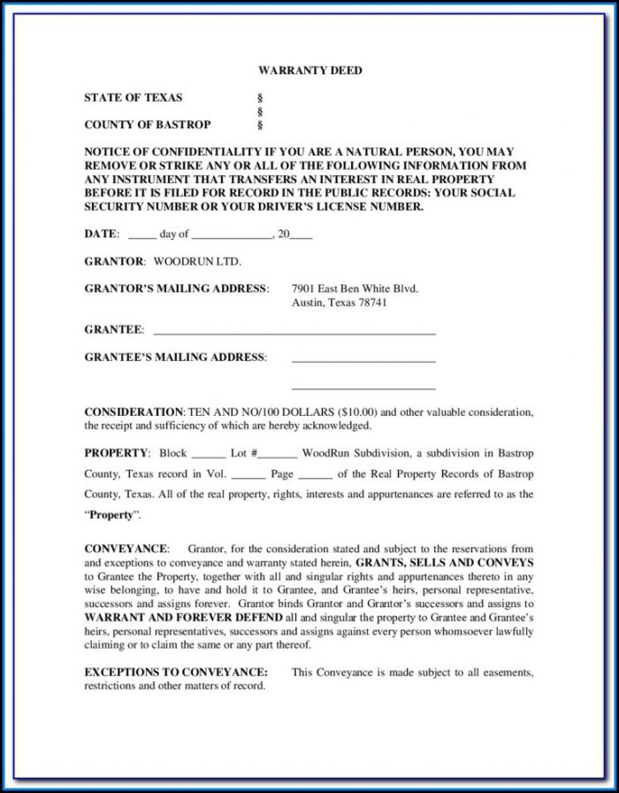 Free Texas Warranty Deed Form With Vendor's Lien