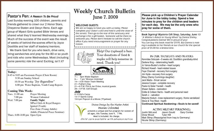 Free Word Templates For Church Programs