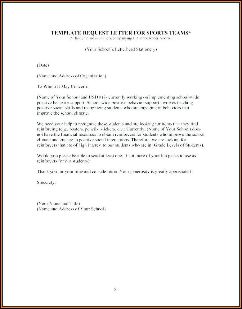 Fundraising Letter Template For Sports Teams