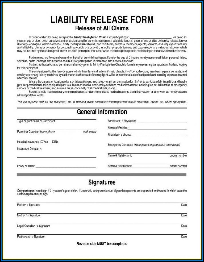General Contractor Liability Waiver Form Form Resume