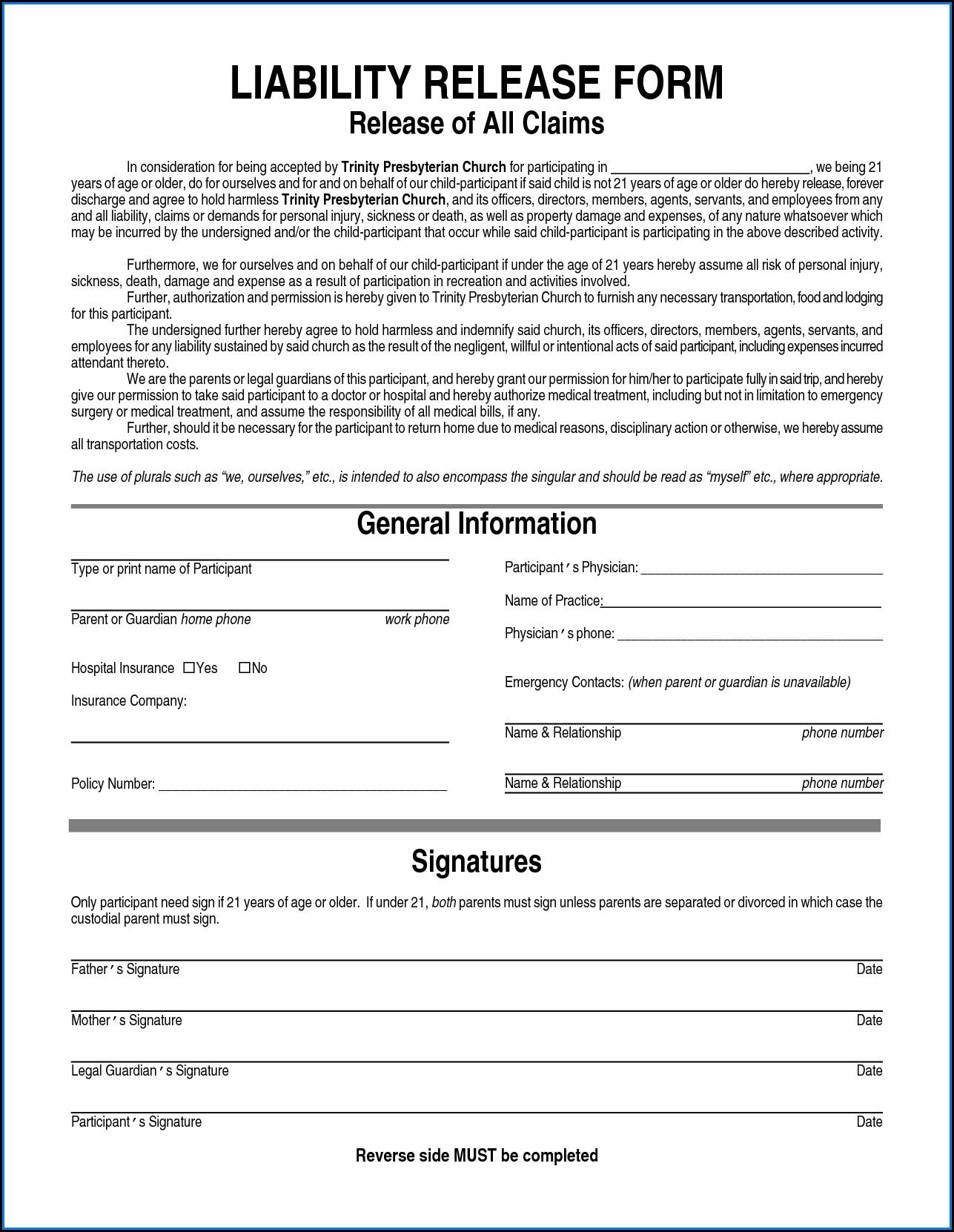 General Liability Waiver Form Pdf