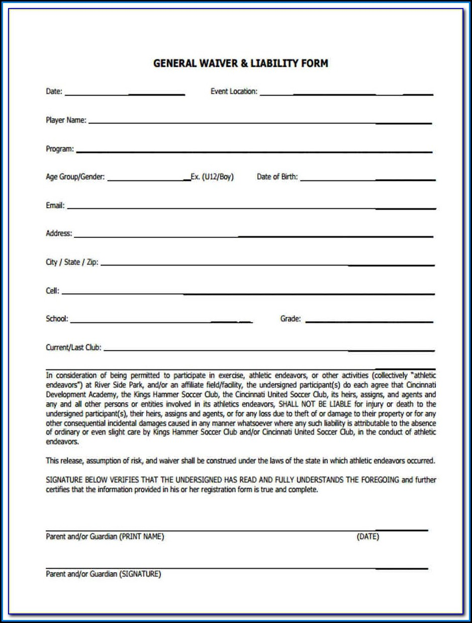 General Liability Waiver Form Sample