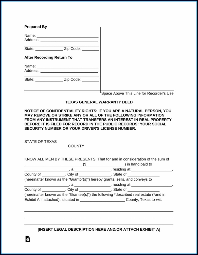General Warranty Deed Form Texas Free