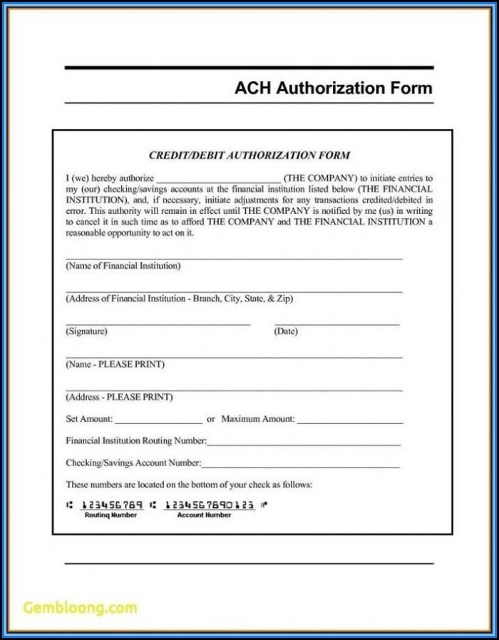 Generic Ach Deposit Authorization Form
