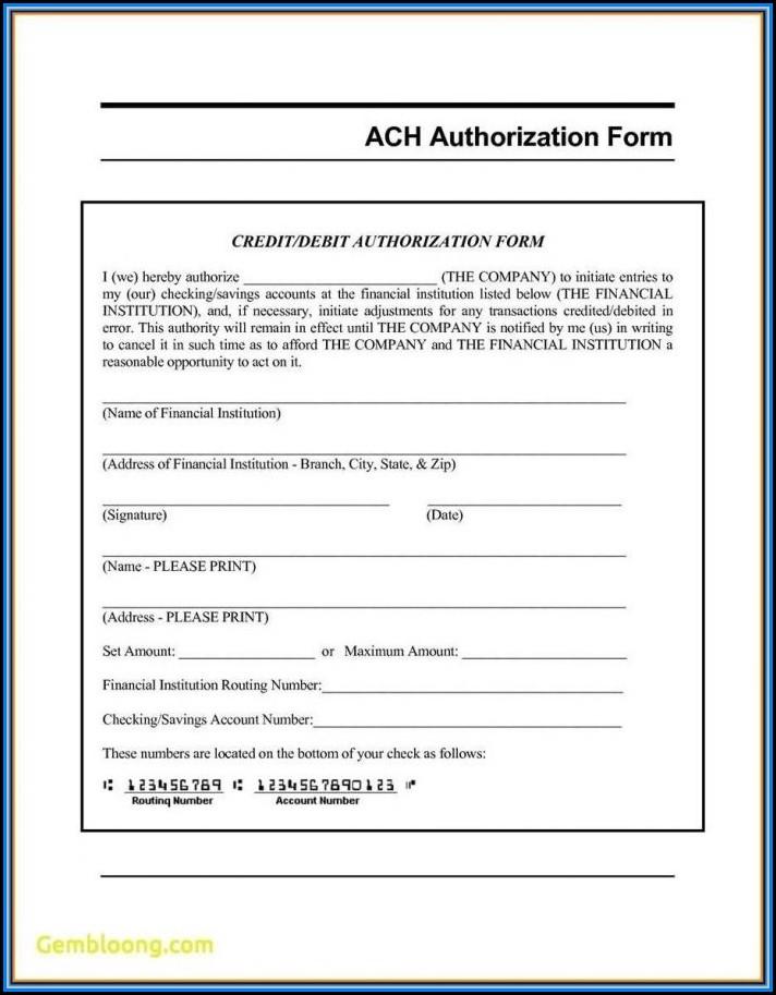 Generic Ach Deposit Authorization Form