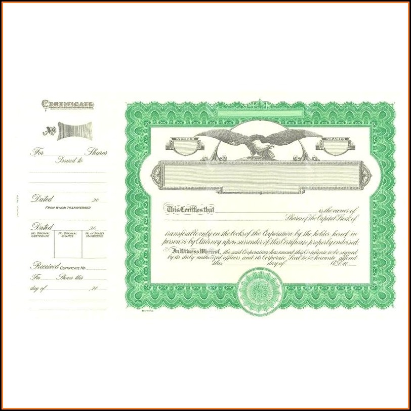 Goes Stock Certificate Forms