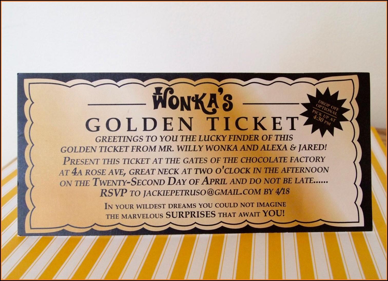 Golden Ticket Invitation Template