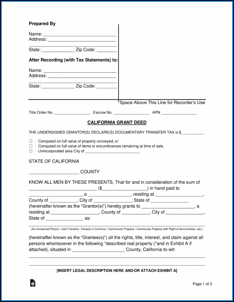 Grant Deed California Form Free