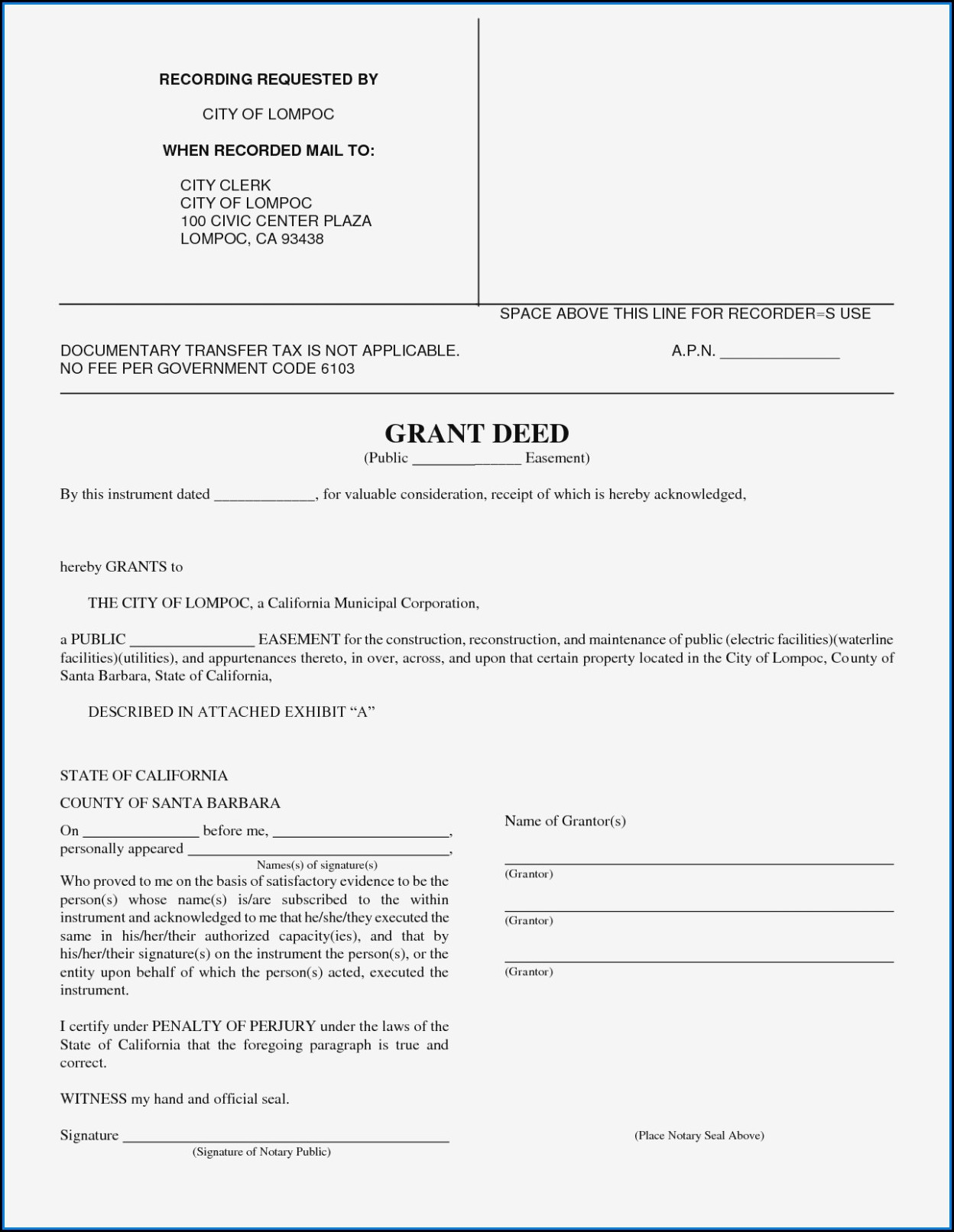 Grant Deed Form California Orange County