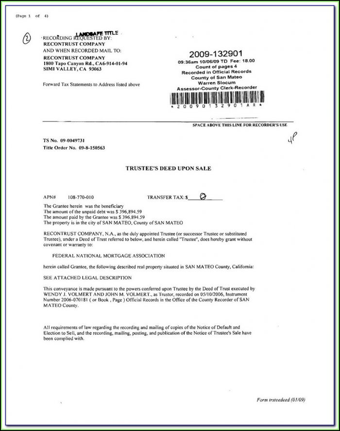 Grant Deed Form California Word Document