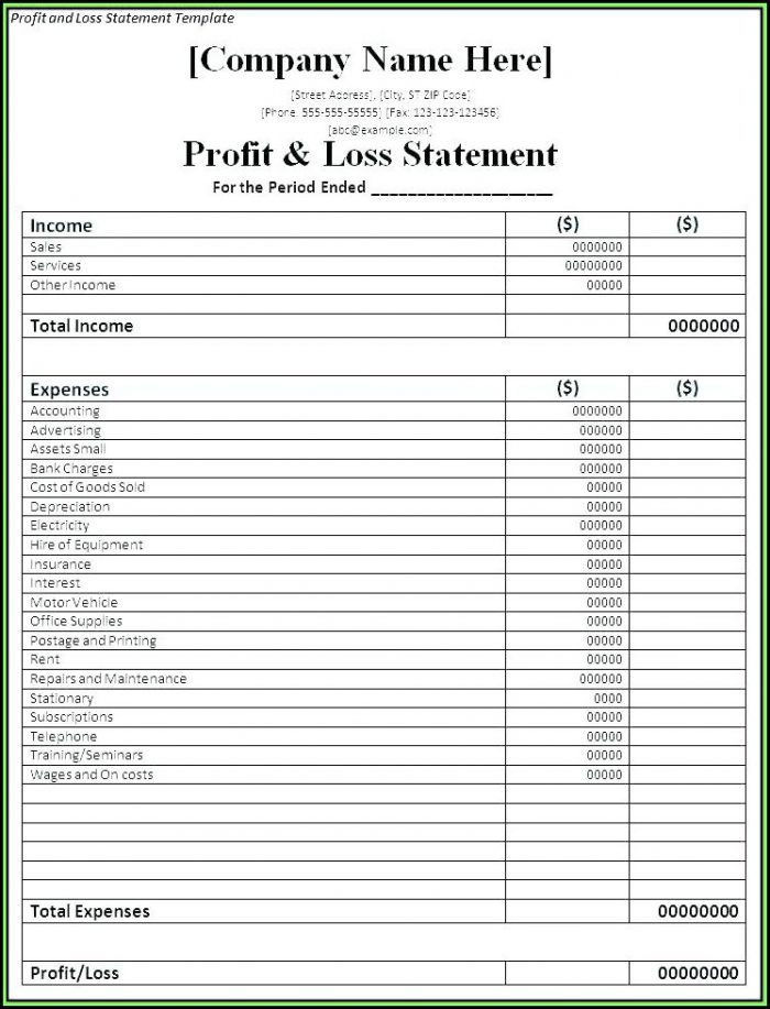 Hotel Profit And Loss Statement Format