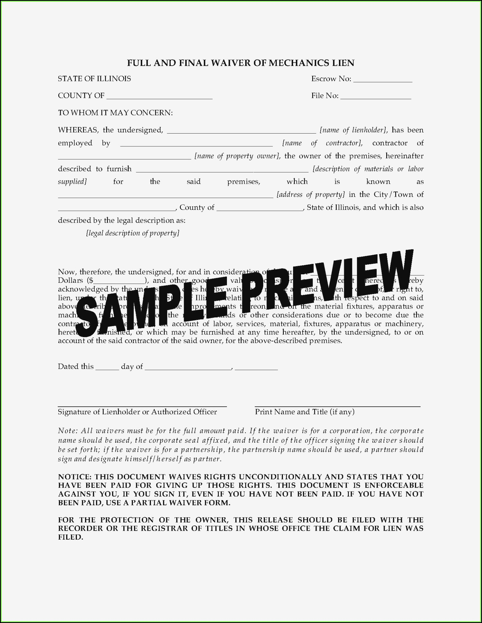 Illinois Mechanics Lien Waiver Form