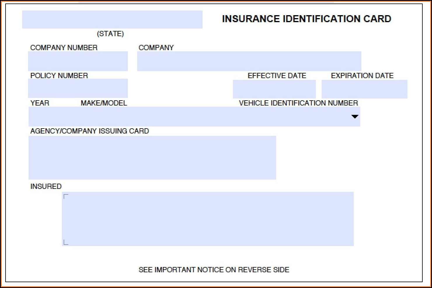 Insurance Id Card Template