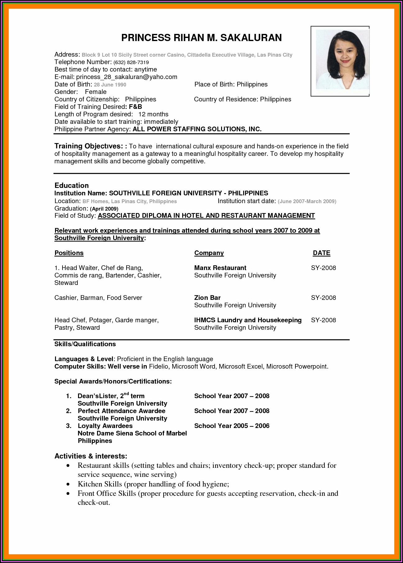 International Standard Resume Format Doc