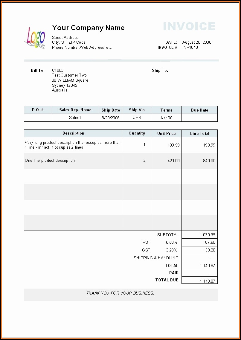 Invoice For Payment Template Free