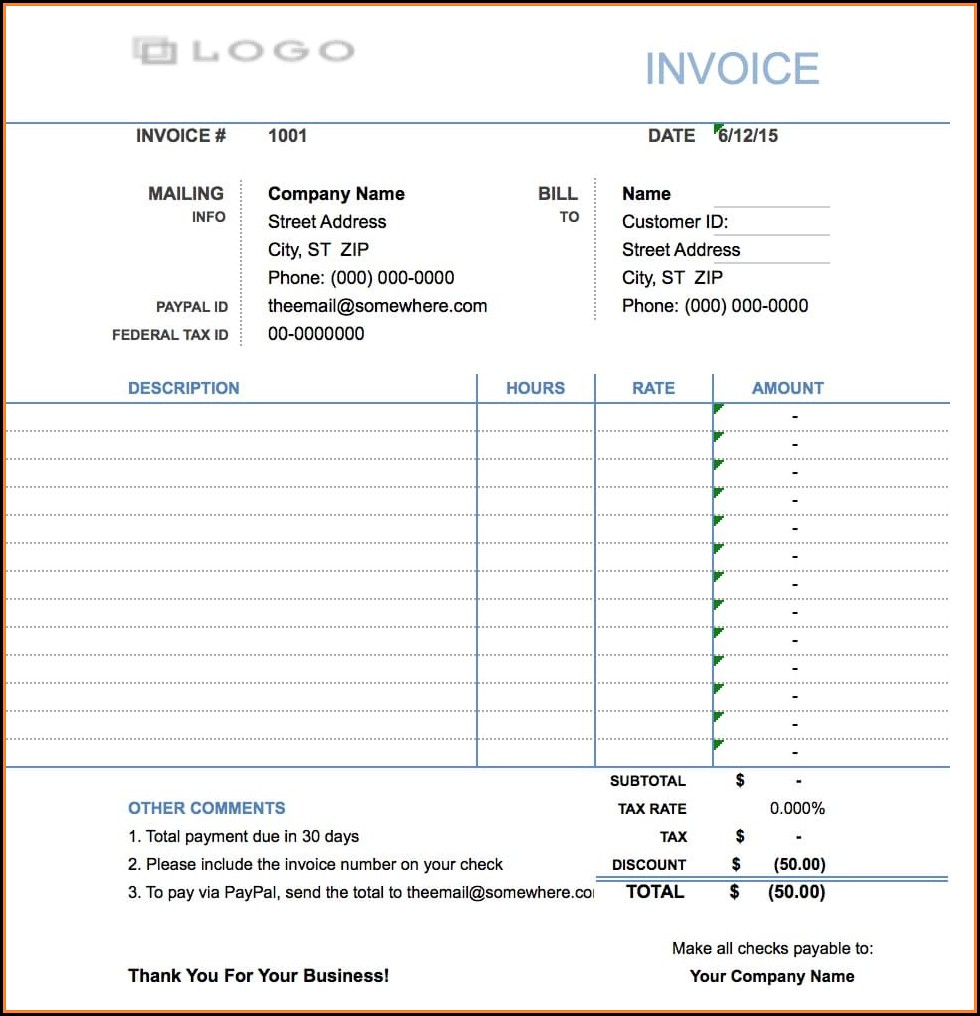 Invoice Template For Billing Hours