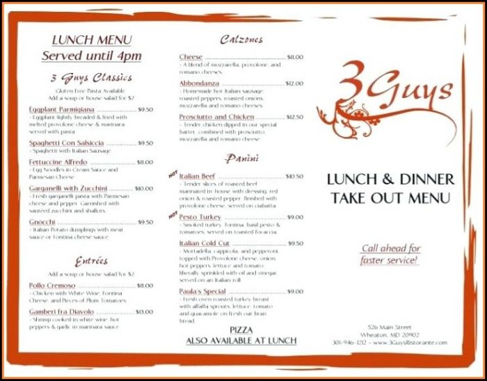 Italian Menu Layout Templates