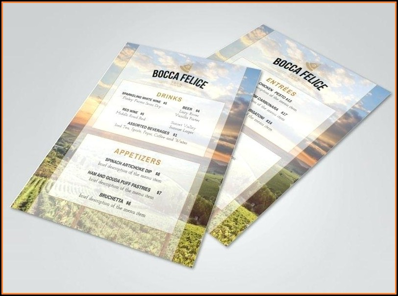 Italian Restaurant Menu Templates Word