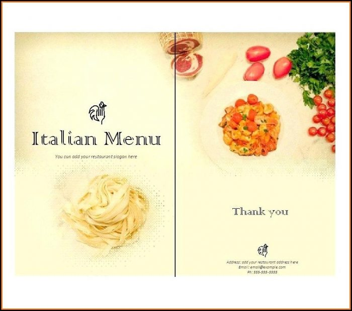 Italian Style Menu Templates