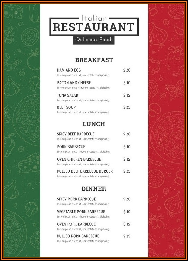 Italian Wedding Menu Templates