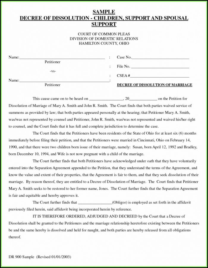 Jefferson County Ohio Dissolution Of Marriage Forms
