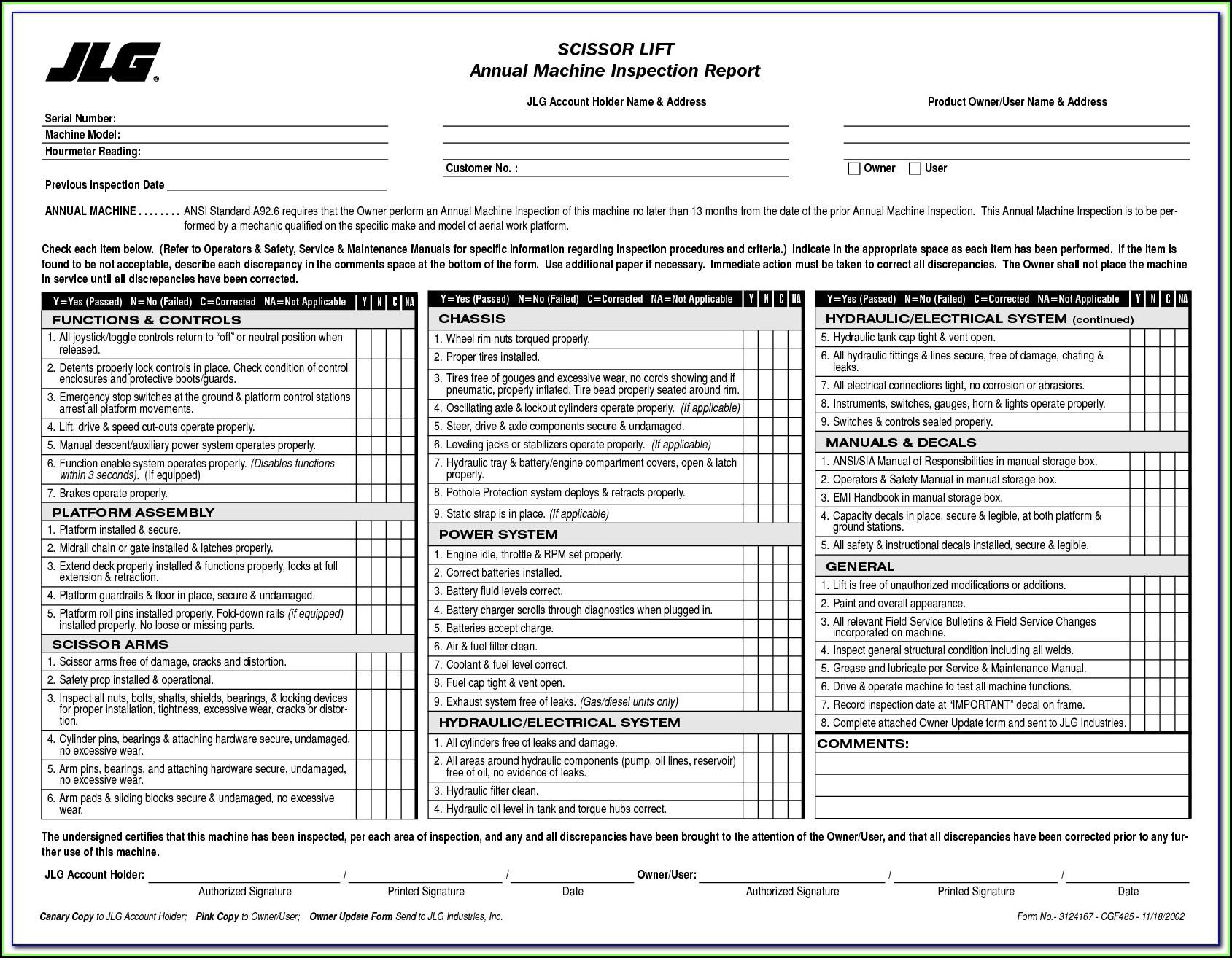Jlg Scissor Lift Inspection Form