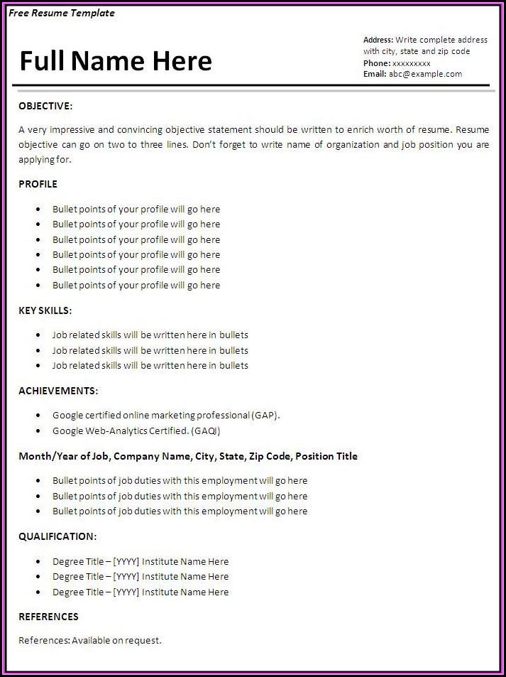Job Resume Template Free