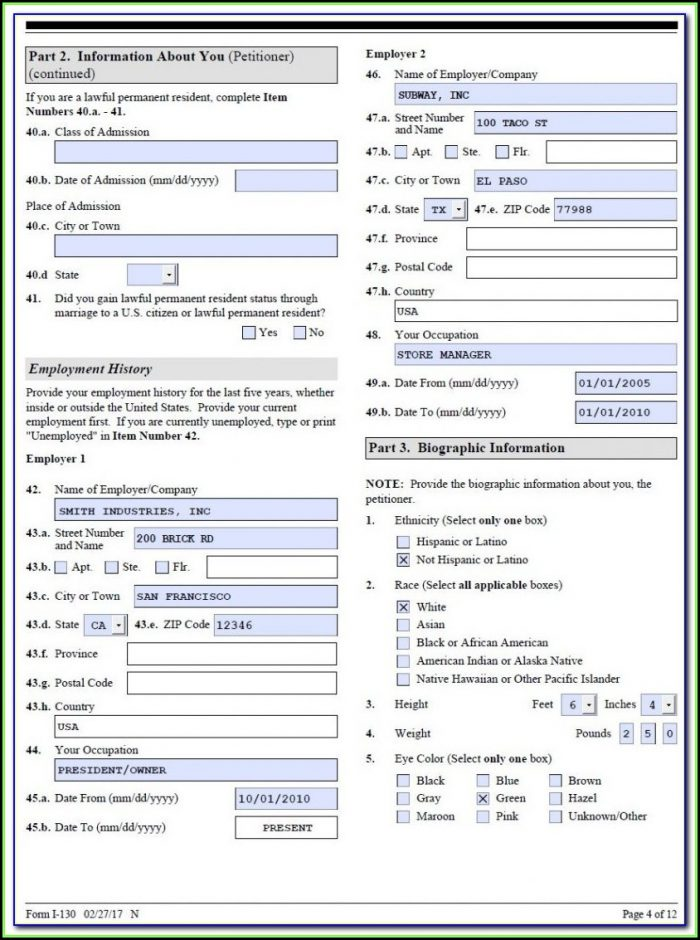 K1 Visa Application Form 2018