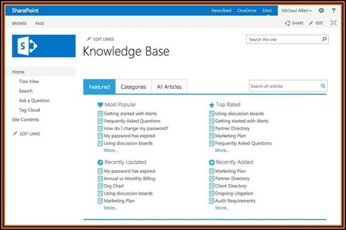 Knowledge Base Sharepoint 2013 Template