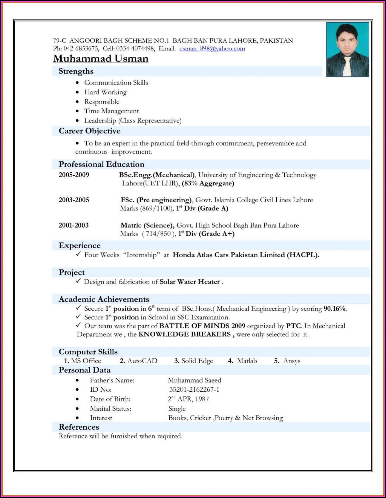 Latest Resume Templates For Freshers Free Download