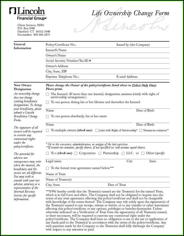 Lincoln National Life Insurance Company Change Of Ownership Form