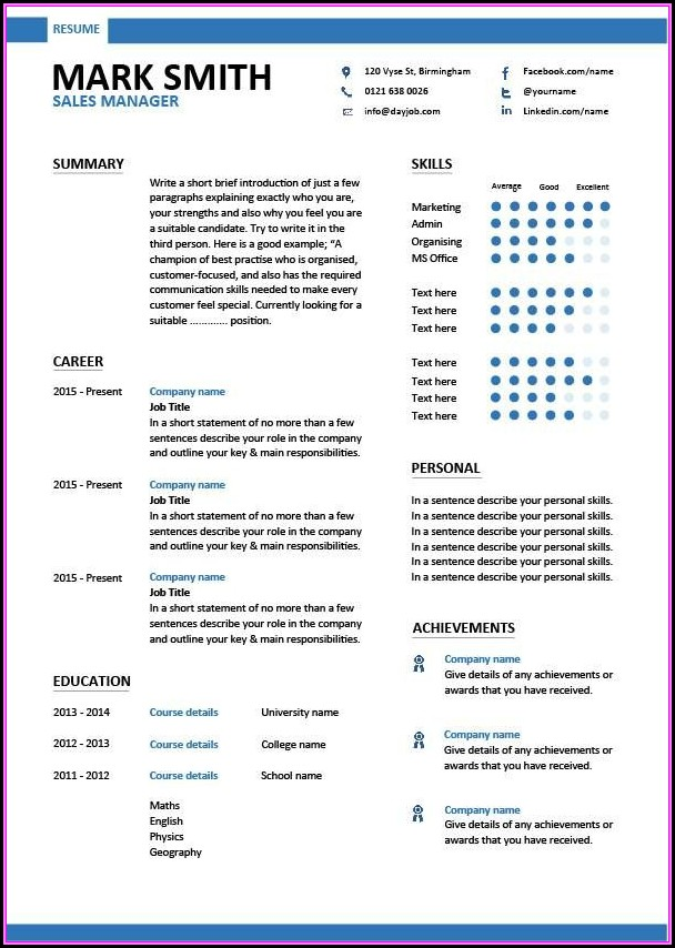 Management Cv Template Free