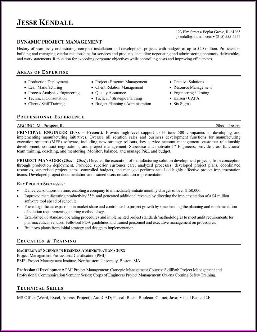 Management Resume Templates Free