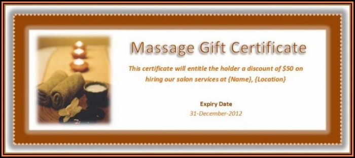 Massage Therapist Gift Certificate Template