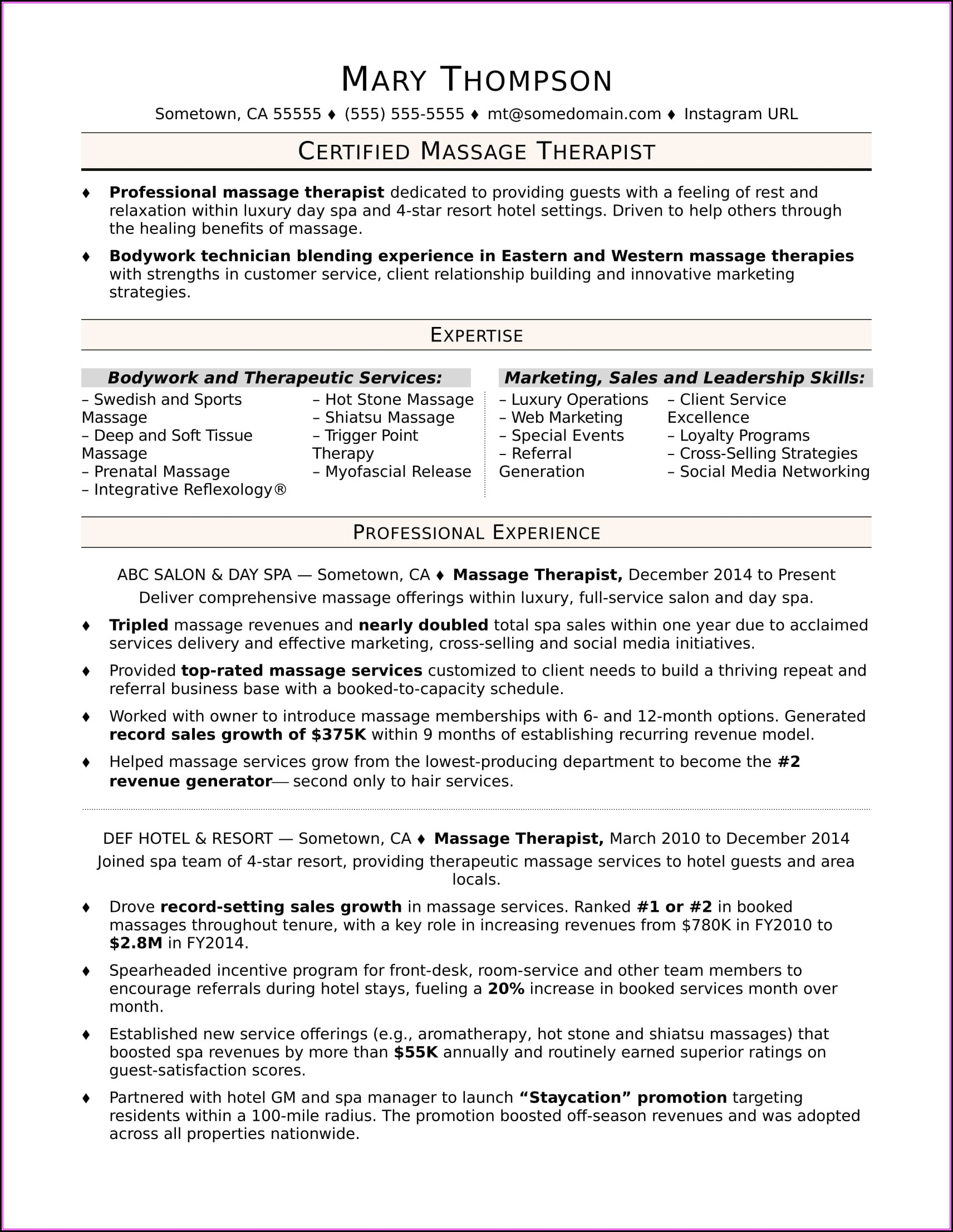 Massage Therapist Resumes Examples